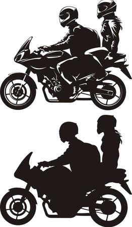 カップル、バイクに乗る