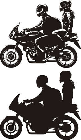 silueta moto: pareja montar en moto