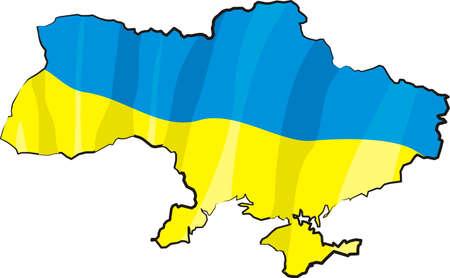 kelet európa: ukraine - map and flag Illusztráció