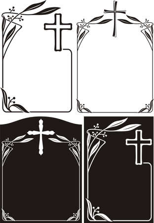 funeral: obituary or memorial plaque - art deco frames Illustration