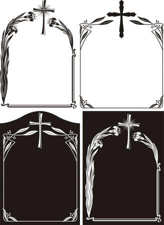 memorial plaque: obituary or memorial plaque - art deco frames Illustration