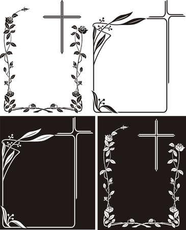 obituary or memorial plaque - art deco frames Illustration