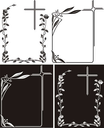 obituary: obituary or memorial plaque - art deco frames Illustration