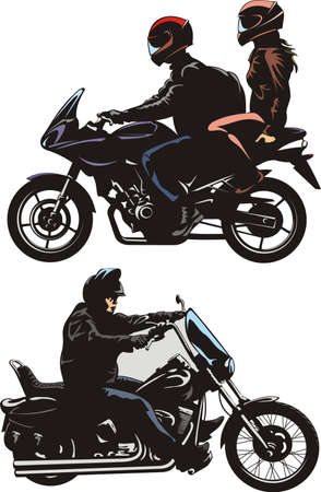 motorcycle rider: couple and man ride a bike
