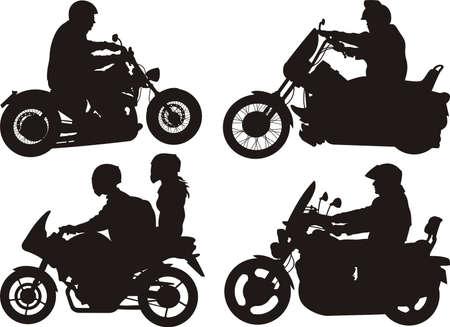people on bikes - silhouette Vector