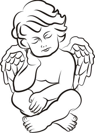 guardian angel: sleeping little angel Illustration