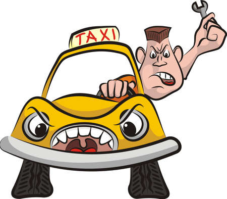 road rage: taxi driver - road rage Illustration