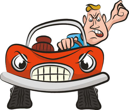 road rage: mad driver - aggression on the road