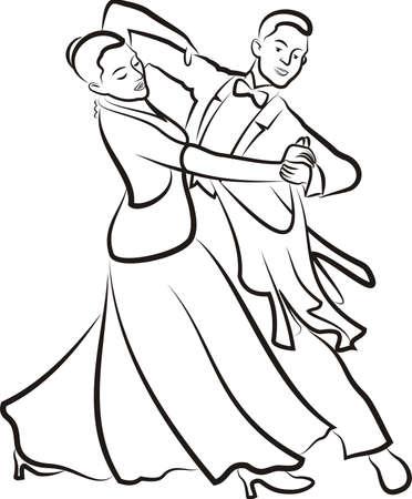ballroom dancing - outlines of dancing couple Vector