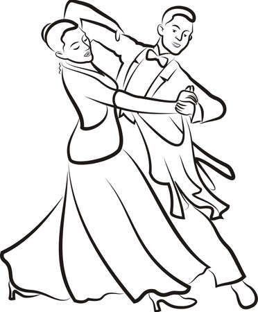 ballroom dancing - outlines of dancing couple Ilustracja