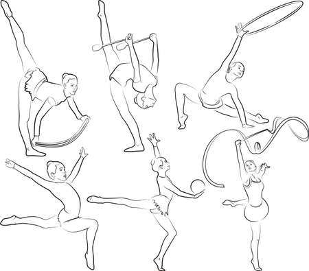 rhythmic gymnastics - black and white vector outlines