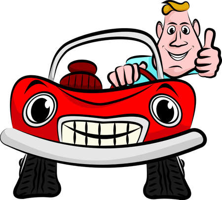 smiling driver in his red convertible