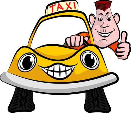 smiling and happy taxi driver Vector