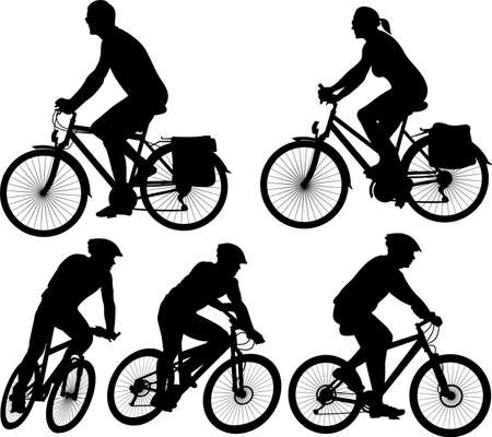 bicyclists: bike - vector solhouettes