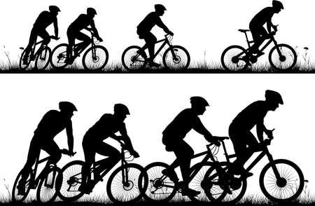 fiets - vector solhouettes en pictogrammen