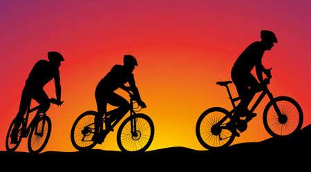 mountainbike-race - vector silhouttes op de achtergrond van de zonsondergang Stock Illustratie