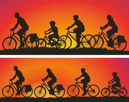 silueta ciclista: familia en el viaje en bicicleta - vector siluetas en el fondo