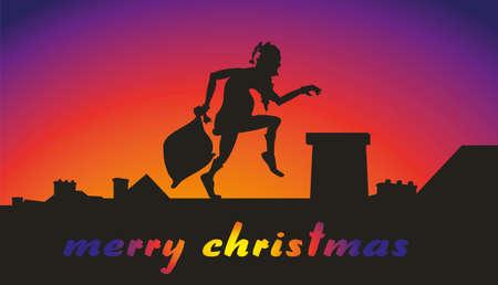 creep: santa claus on the roof - merry christmas Illustration