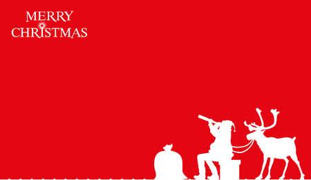 christmas card - santa on the roof Ilustracja