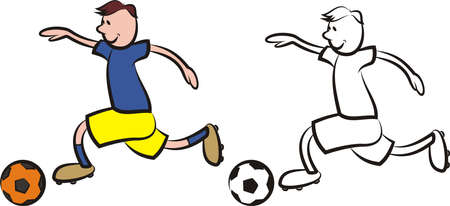 striker: vector soccer player - boy