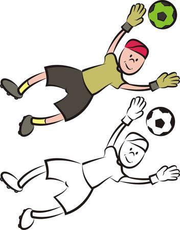 striker: vector soccer player - goalkeeper