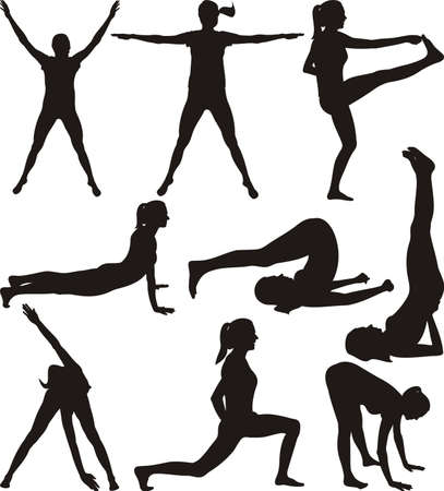 fitness training: Fitness - silhouettes of exercising woman
