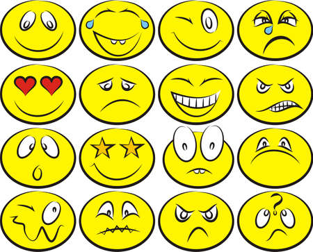 sorrowful: smiley icons - emoticons vector set Illustration