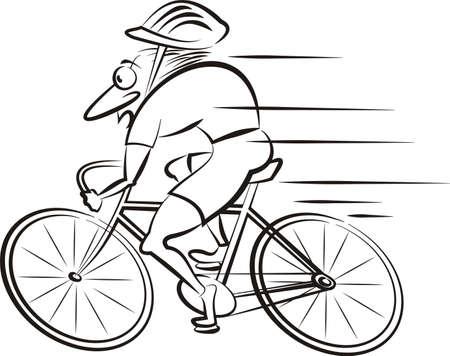 caricatura: bicicleta - vector esboza de rápida ciclista Vectores