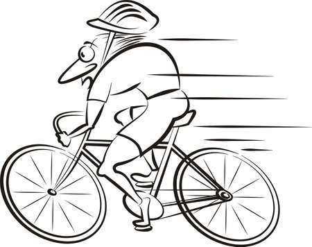 cycling - vector outlines of speedy cyclist