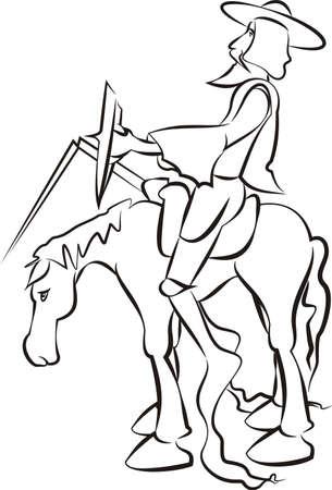 Don Quixote - vector outlines Vectores