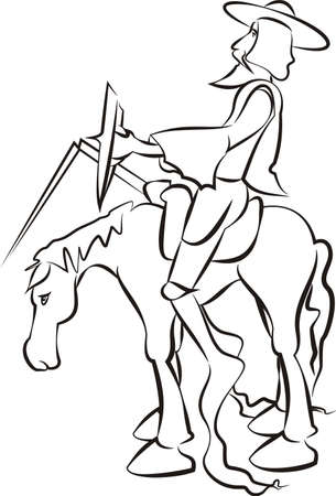 Don Quixote - vector outlines Illustration