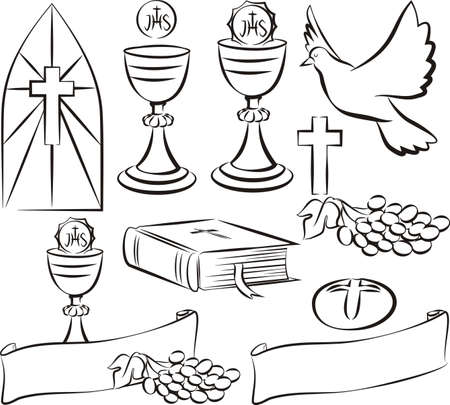 holy communion - vector symbols and icons Çizim