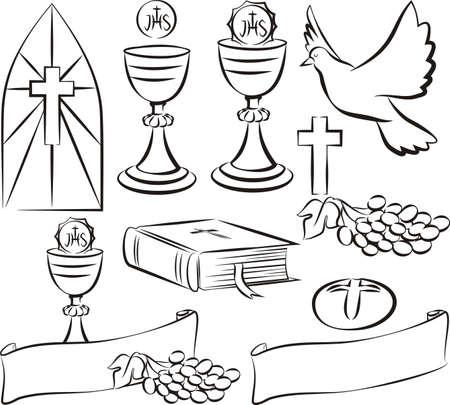 première communion: sainte communion - symboles et icônes vecteur