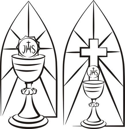 eucharistie: calice sur le fond du vitrail Illustration