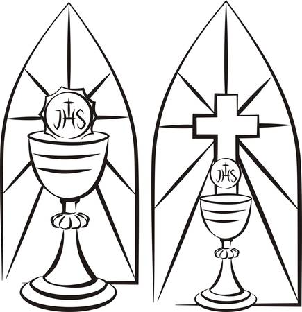 holy eucharist: chalice on the background of stained glass