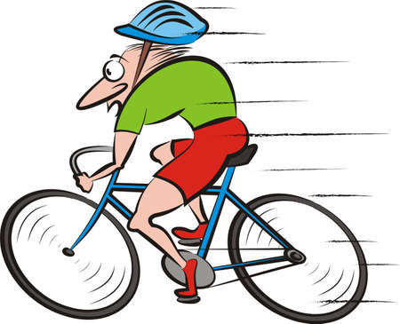 road cycling: cyclist, cyckling - vector bike Illustration