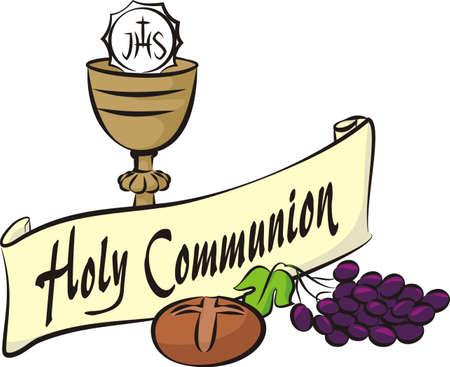 catholic mass: holy communion Illustration