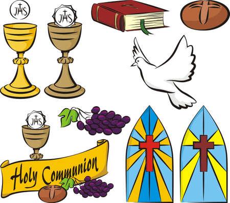 eucharistie: sainte communion - matériel de vecteur Illustration