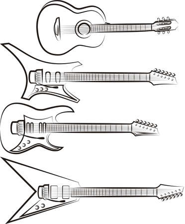 electric guitars: classic acoustic and electric guitars Illustration