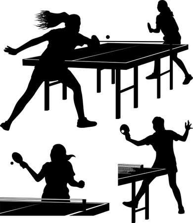 siluetas de mujeres: tenis de mesa - siluetas de las mujeres
