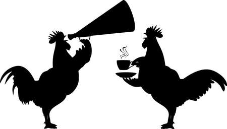 morning  cock: crowing rooster - silhouettes