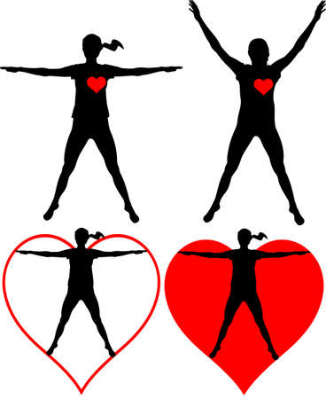 exercise silhouette: healthcare - fitness