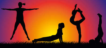 fit body: outdoor fitness on the background of sunset