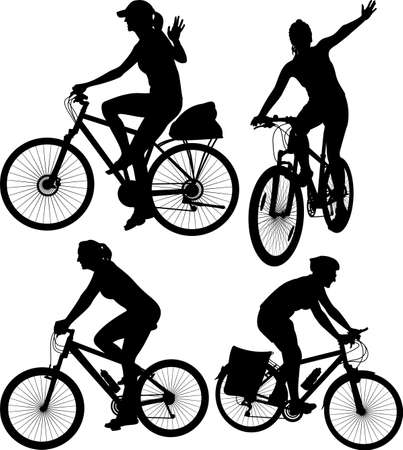 cyclist silhouette: cycling - silhouettes