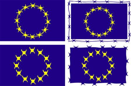 european union flag: european union flag - metaphore of xenophobia Illustration