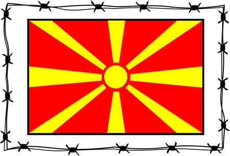 macedonia: macedonia flag - refugee metaphore