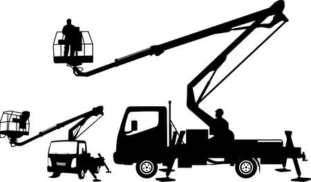 bucket truck silhouettes Stock Illustratie