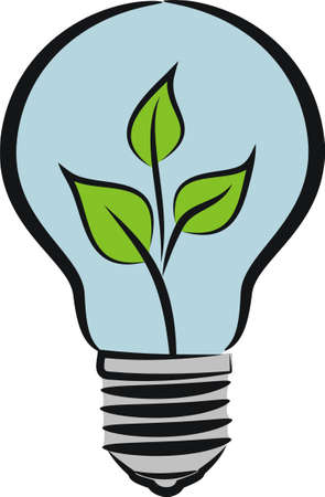 invent clever: eco bulb - idea and ecology metaphor Illustration