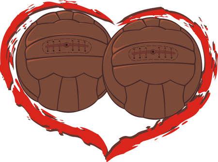 ballon foot: j'aime le football - coeur sur balles