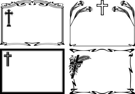 mourning: obituary notice - vector frames Illustration